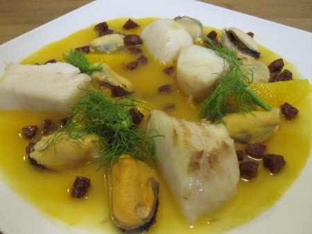 Poached Cod with Orange, Mussels, and Chorizo