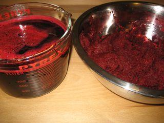 Beet juice and pulp