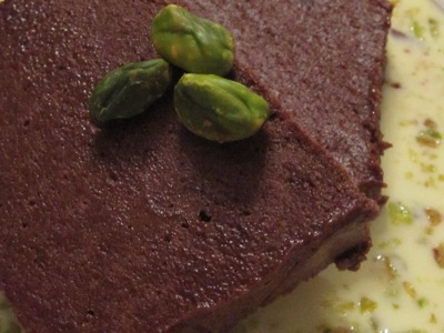 Post image for Chocolate Terrine with Custard Sauce and Pistachios