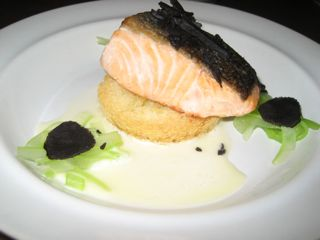 """Salmon """"chop"""" with celery and black truffles"""