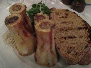 Roast bone marrow with parsley salad