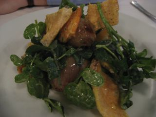 Crispy pig's skin & watercress
