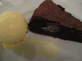 Baked chocolate mousse & creme fraiche ice cream